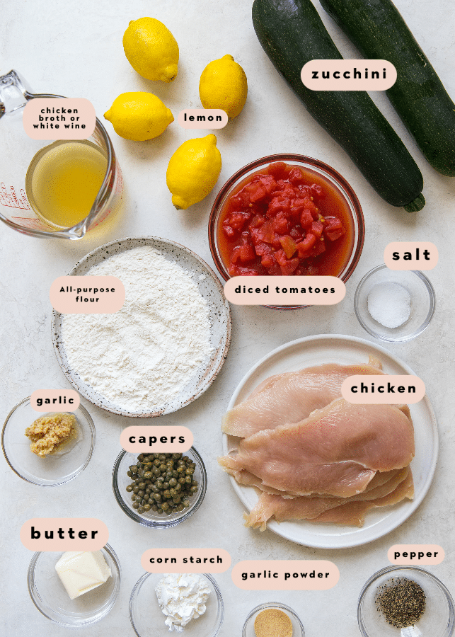 ingredients needed to make lemon chicken piccata