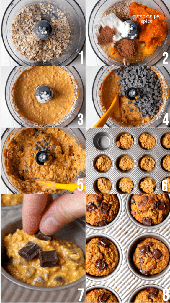 step by step photos of how to make pumpkin muffins in a food processor or blender