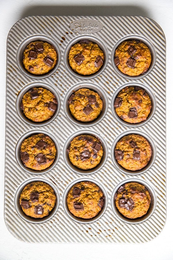 gluten free pumpkin muffins freshly baked from the oven in a muffin tin