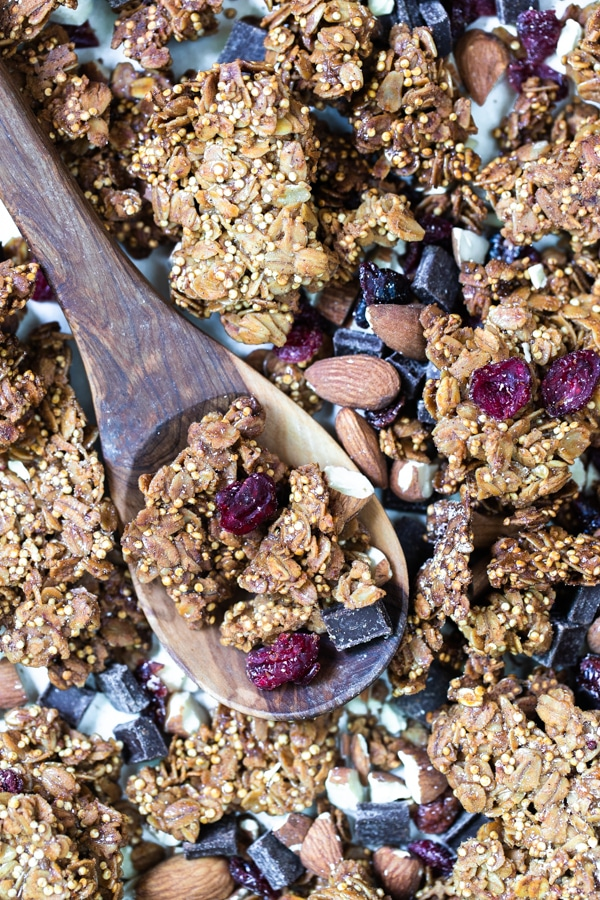 up close shot of granola on a spoon