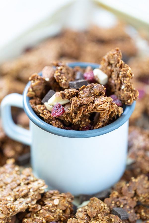 quinoa granola in a cup