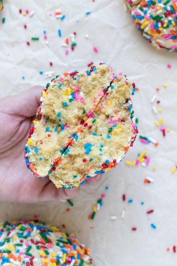 funfetti cookies coated in rainbow sprinkles