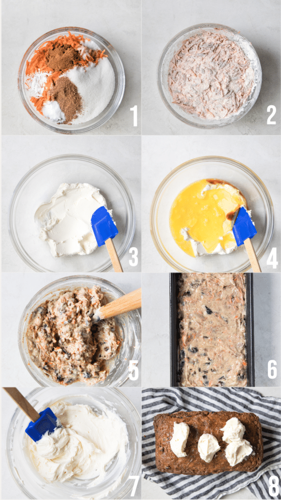 carrot cake loaf step by step instructional photos