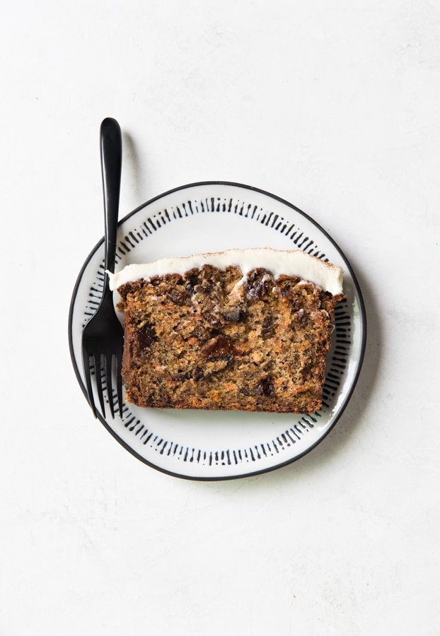 carrot cake bread on a white plate