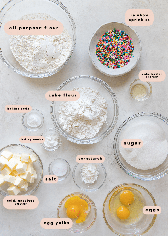 ingredients needed to make this funfetti cookie recipe