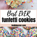 funfetti cookies coated in rainbow sprinkles