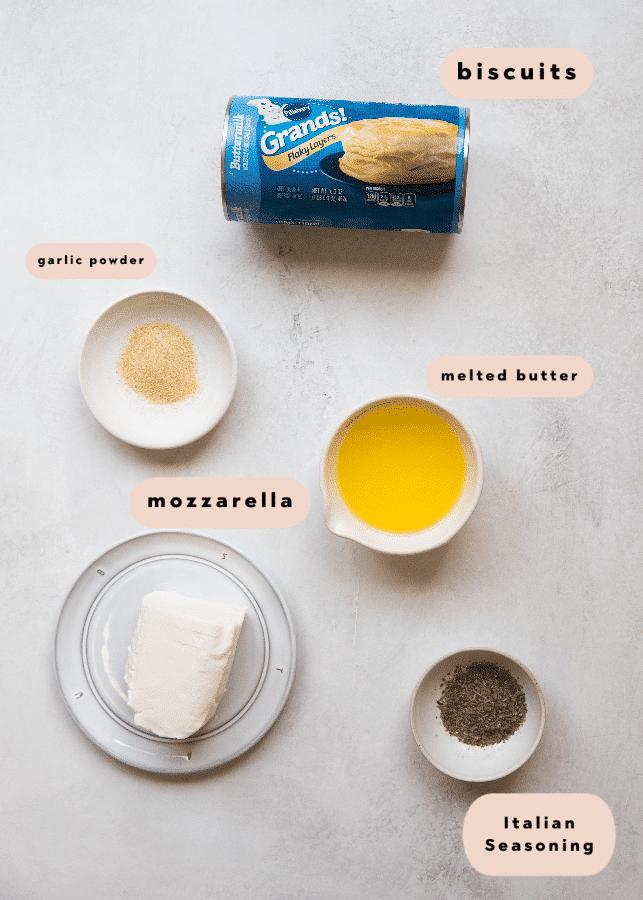 ingredients needed to make garlic herb cheese bites