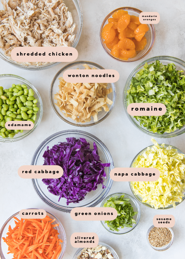 all of the ingredients you need to make oriental chicken salad