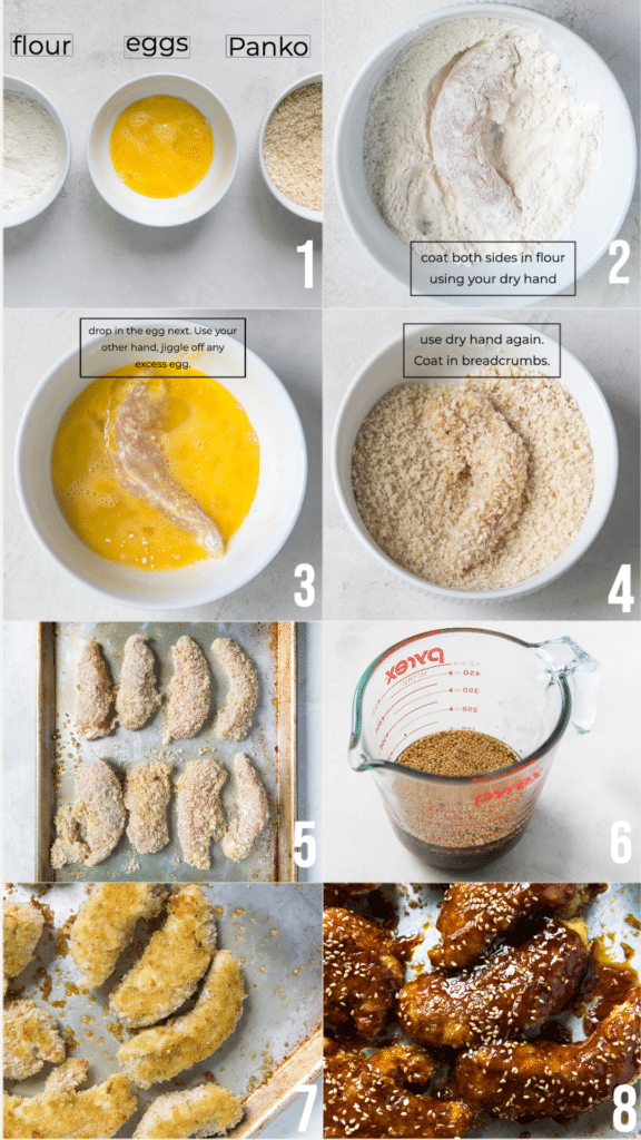 step by step photos on how to make crispy sesame chicken