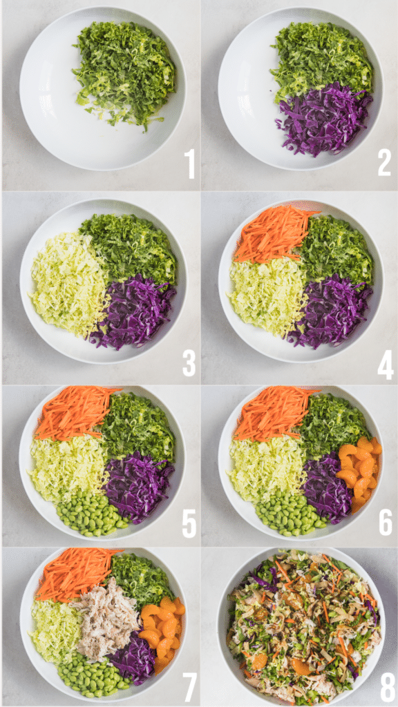 step by step photos on making Chinese chicken salad