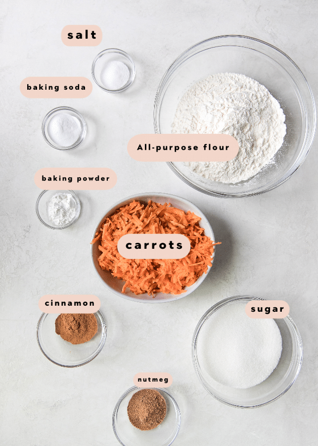 carrot cake bread ingredients in glass bowls