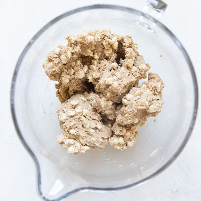 snickerdoodle cookie dough in a stand mixer