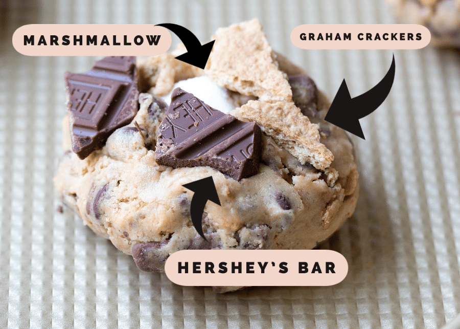 smores cookie topped with graham cracker and hershey chocolate chunks