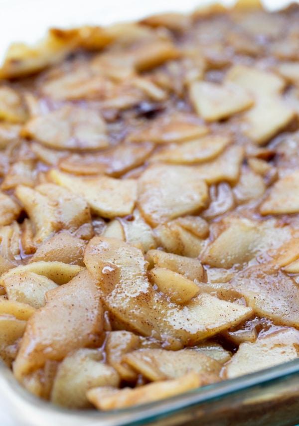 apple pie filling in a baking dish