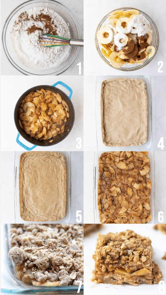 step by step photos of how to make apple pie bars