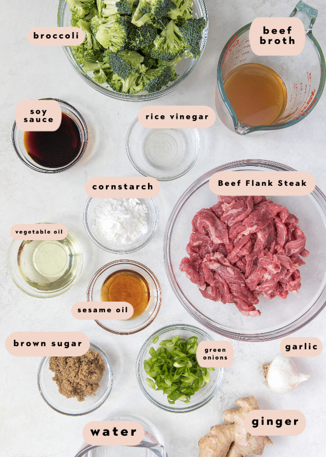 ingredients needed for an easy beef and broccoli recipe in small glass bowls