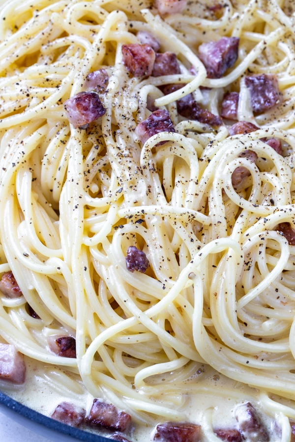 spaghetti alla carbonara with guanciale and black pepper