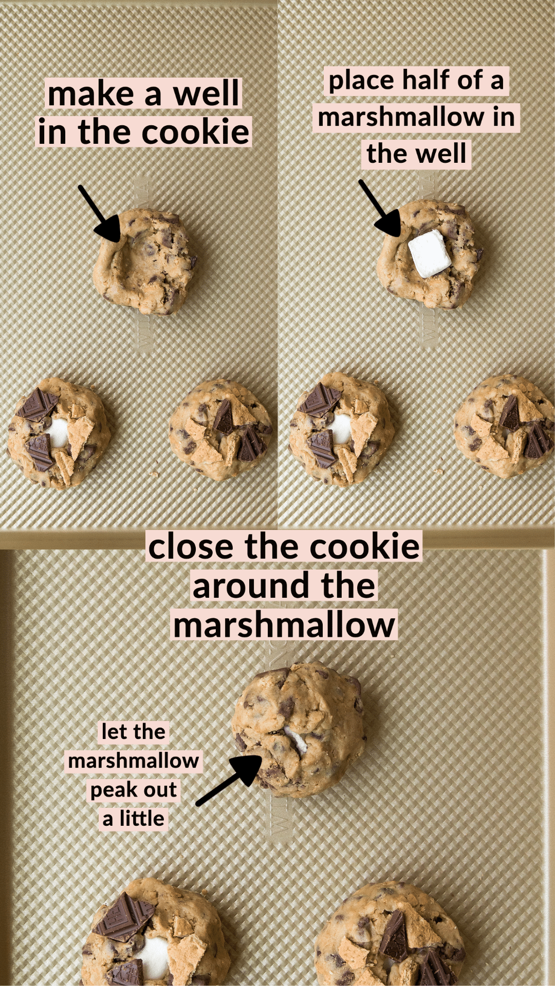photos of how to stuff the marshmallow inside the cookie