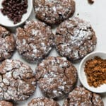 double chocolate crinkle cookies on a white board