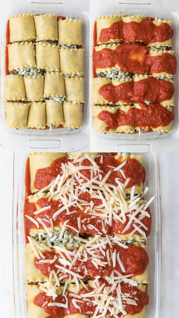 step by step photos of how to make lasagna roll ups