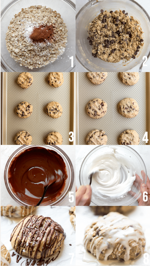 step by step photos of how to make chewy oatmeal chocolate chip cookies