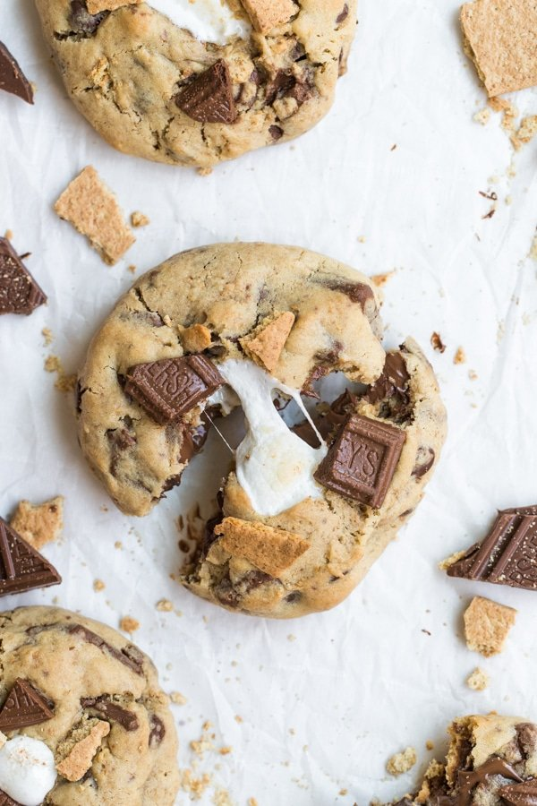 smores cookie recipe on parchment paper