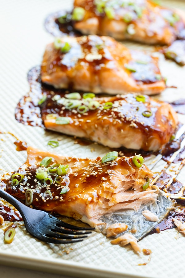 teriyaki glazed salmon on a sheet pan with homemade teriyaki sauce