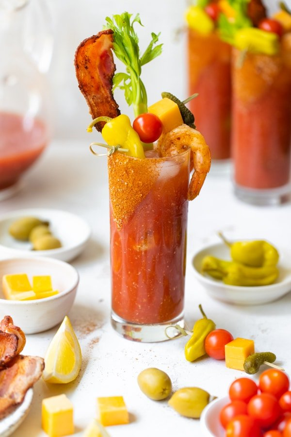 a spicy bloody mary in a glass