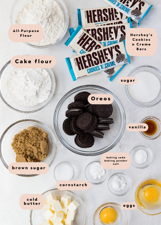 Cookies & Cream Cookies ingredients in small glass bowls