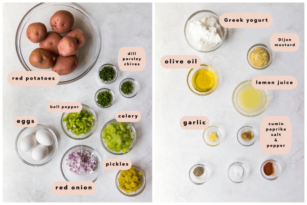 ingredients needed for healthy potato salad
