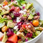 beet salad in a bowl topped with feta