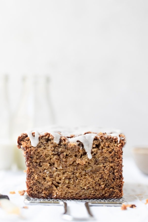 banana bread with frosting on top
