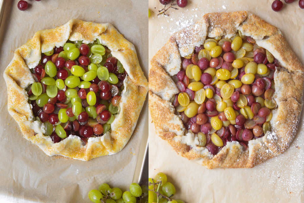 grape galette on parchment paper