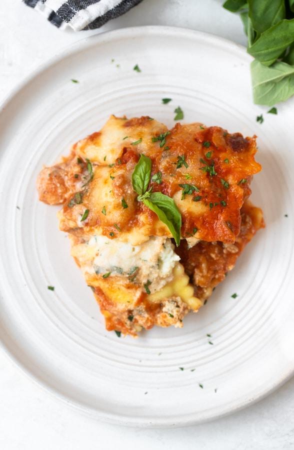 ravioli lasagna recipe on a white plate
