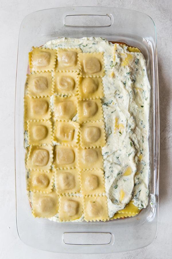 ravioli lasagna in a casserole dish