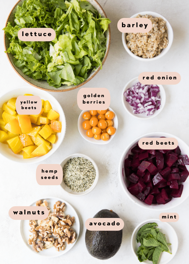 ingredients for beet salad in small dishes