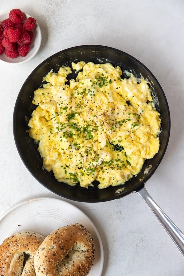 soft creamy scrambled eggs in a nonstick skillet