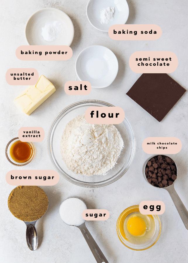 cookie skillet ingredients in small bowls