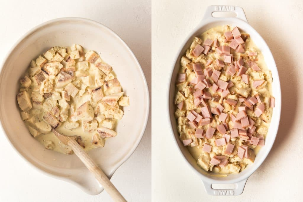 step by step photos of making eggs benedict casserole