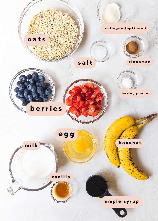 ingredients for healthy baked oatmeal
