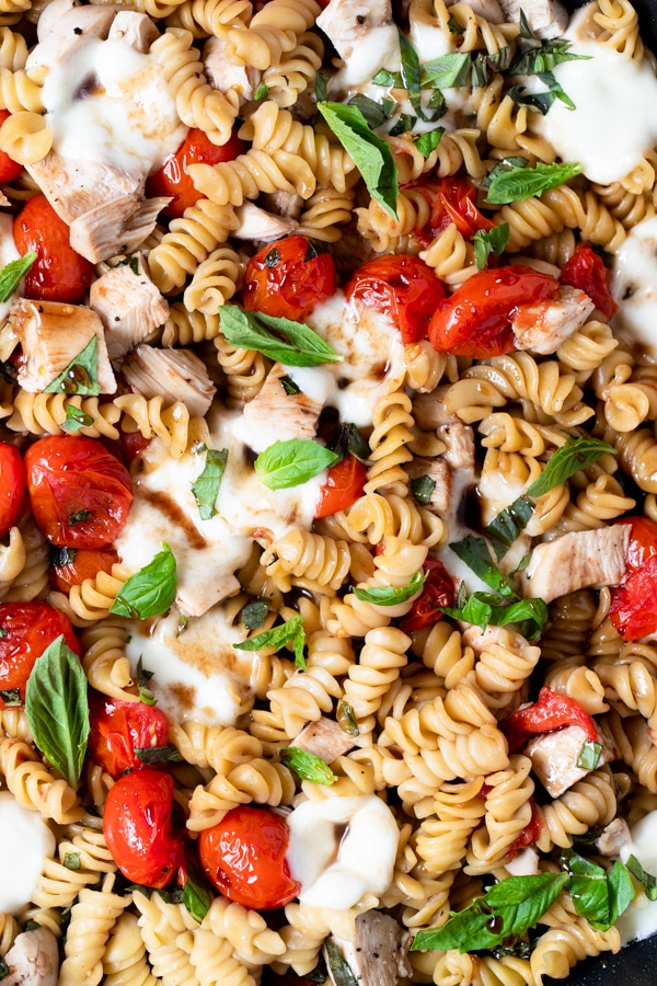 up close shot of Chicken Caprese Pasta
