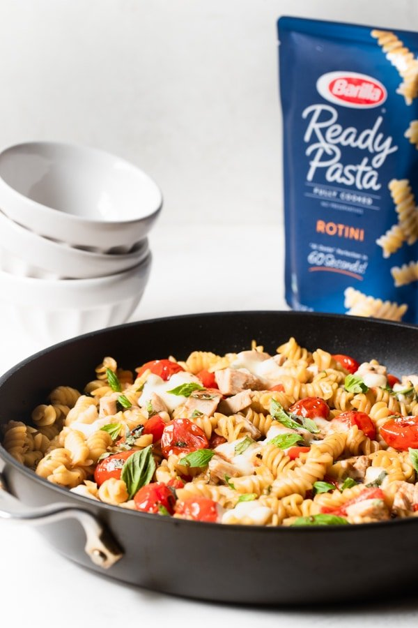 Chicken Caprese Pasta in a non stick frying pan