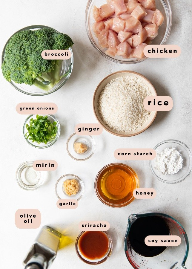 ingredients needed to make chicken rice bowls