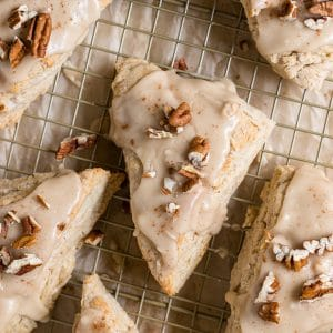 maple scones on a cooling rack