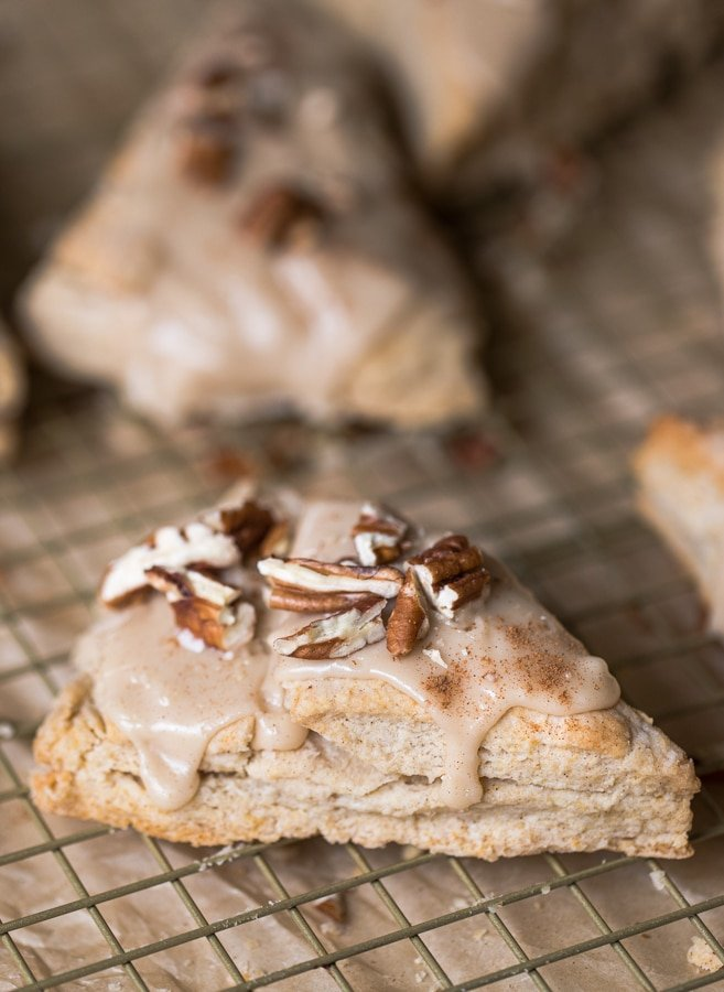 maple scones with pecans with glaze on top