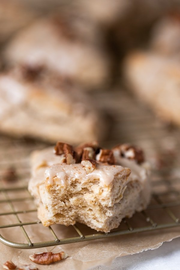 maple scones with glaze and pecans on top