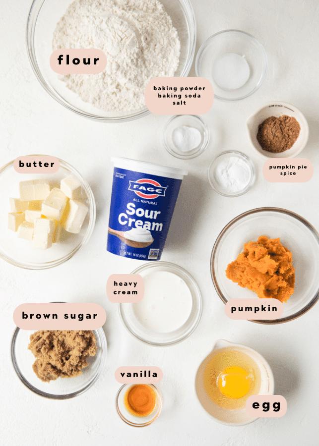 ingredients needed for pumpkin scones
