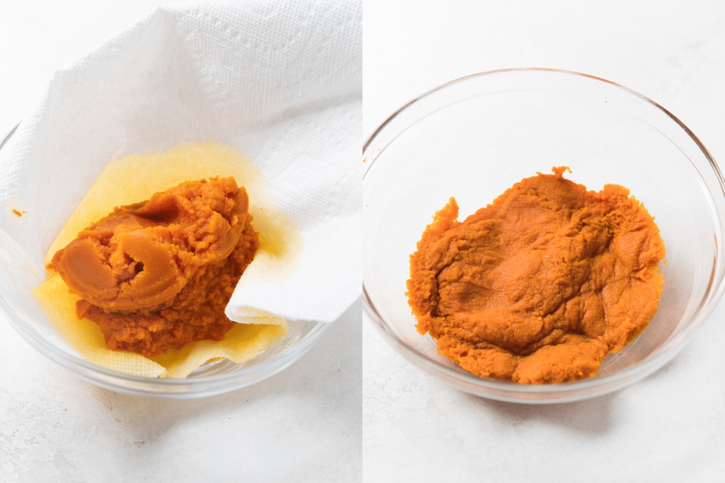 how to blot pumpkin to get out excess moisture