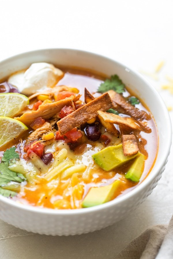 chicken taco soup in a white bowl