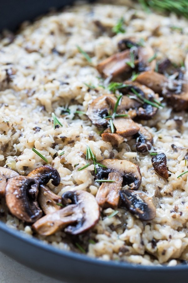 risotto made with mushrooms in a pan